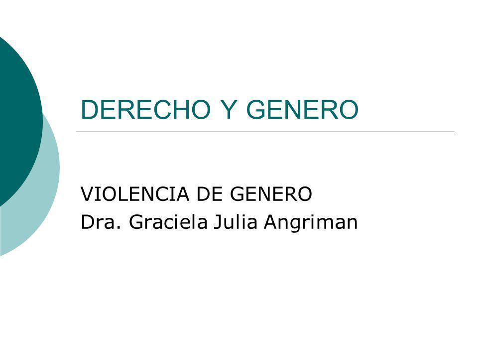 VIOLENCIA DE GENERO Dra. Graciela Julia Angriman