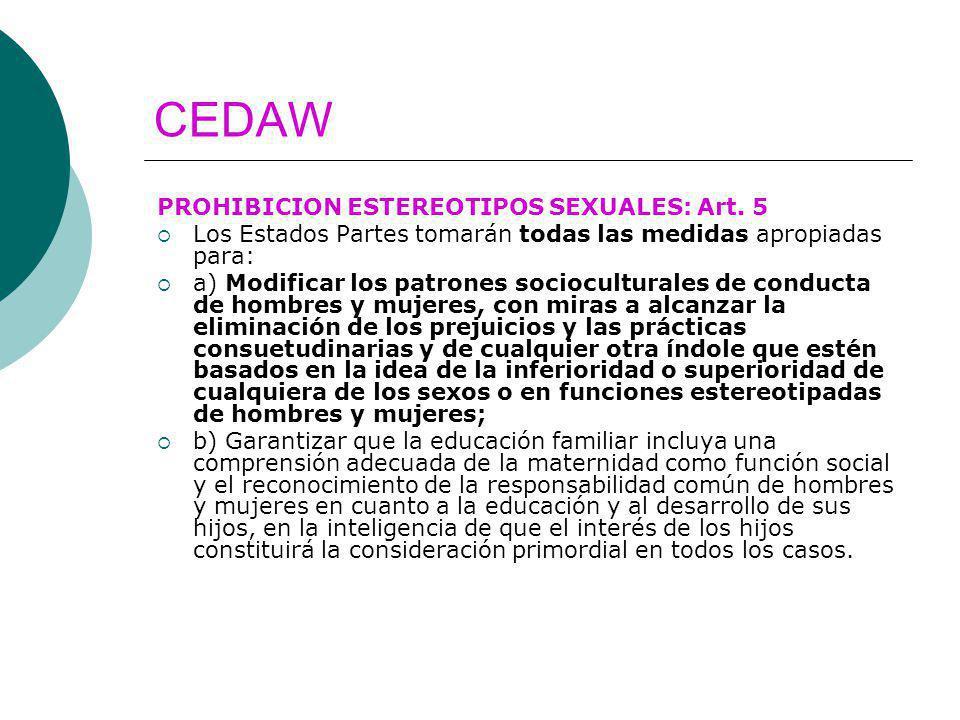 CEDAW PROHIBICION ESTEREOTIPOS SEXUALES: Art. 5