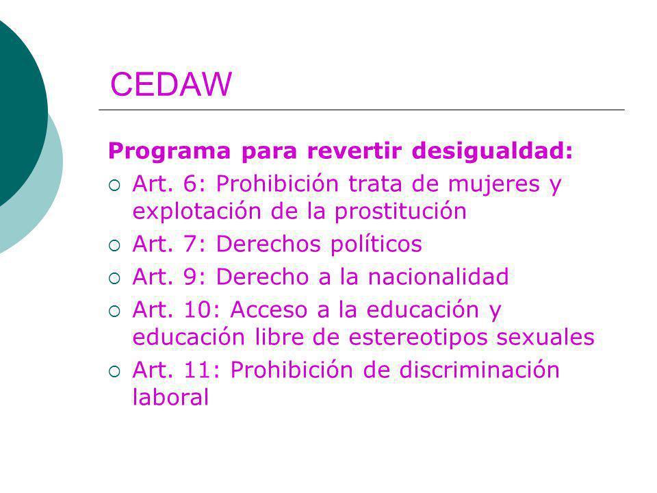 CEDAW Programa para revertir desigualdad: