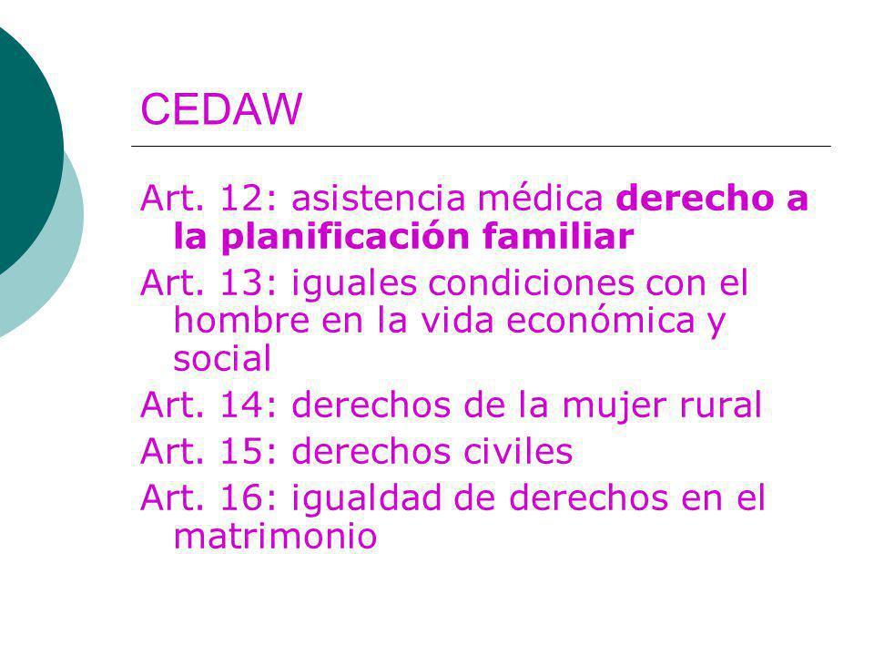 CEDAW Art. 12: asistencia médica derecho a la planificación familiar