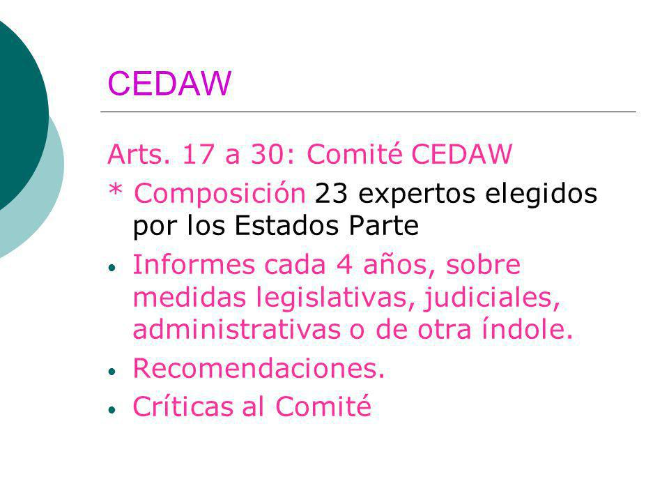 CEDAW Arts. 17 a 30: Comité CEDAW