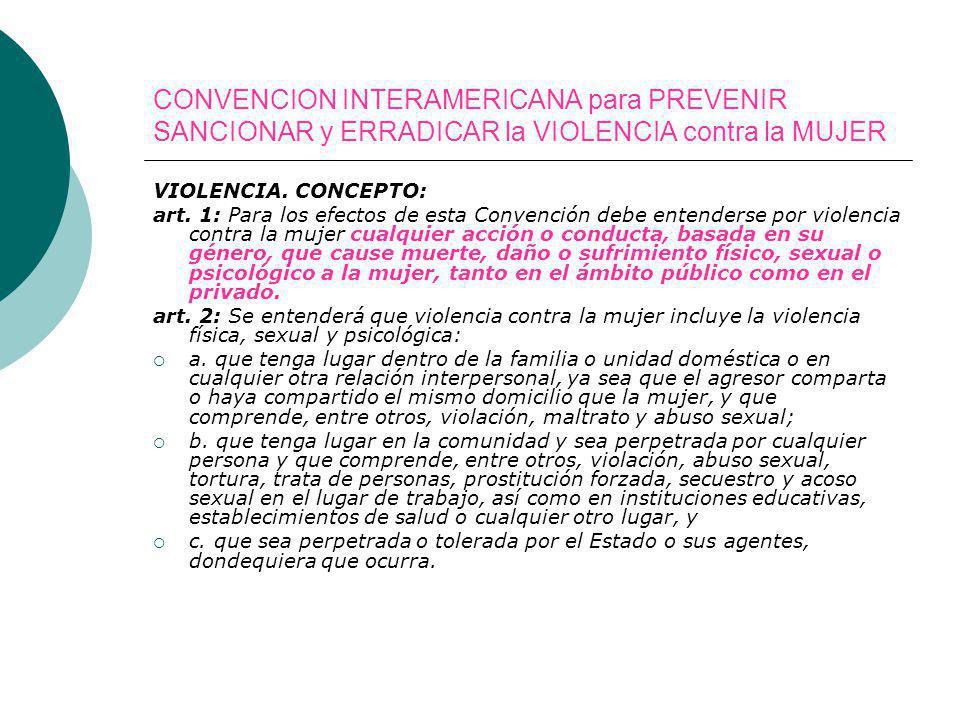 CONVENCION INTERAMERICANA para PREVENIR SANCIONAR y ERRADICAR la VIOLENCIA contra la MUJER