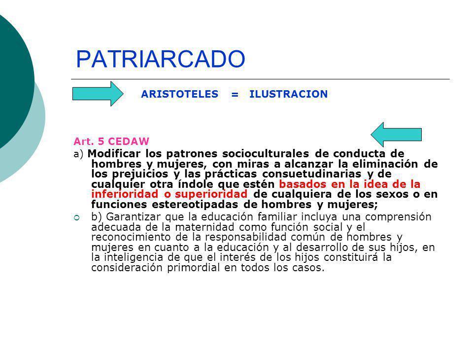PATRIARCADO ARISTOTELES = ILUSTRACION. Art. 5 CEDAW.
