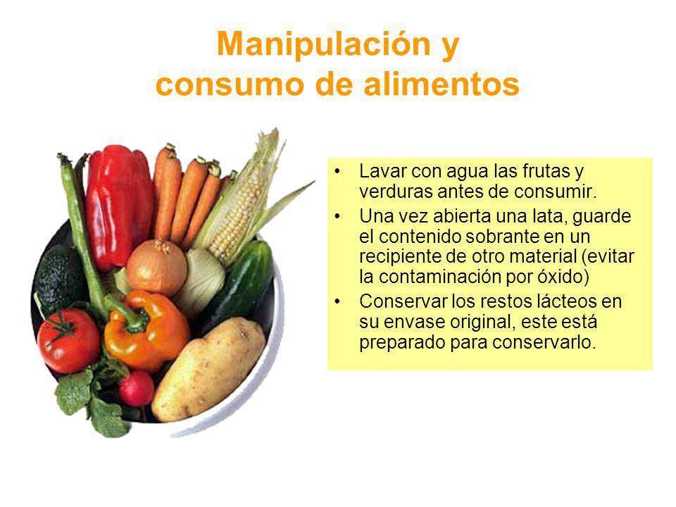 Manipulación y consumo de alimentos
