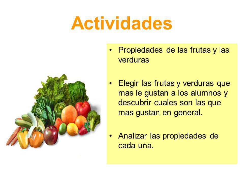 Actividades Propiedades de las frutas y las verduras