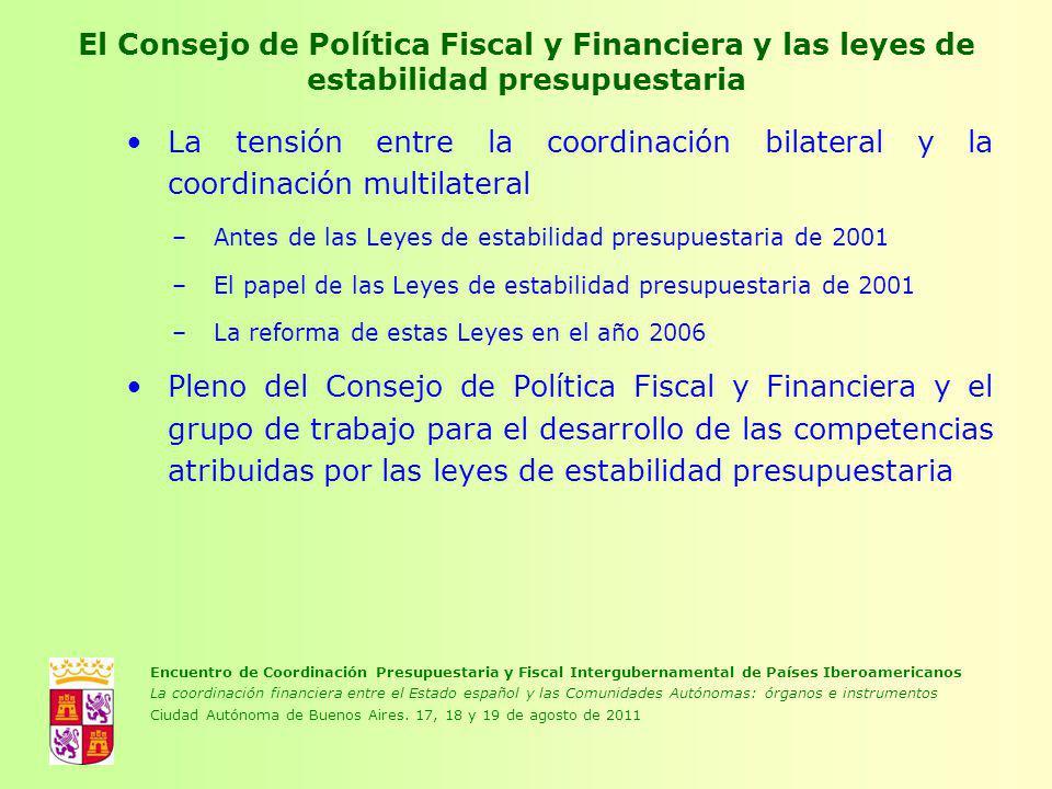 El Consejo de Política Fiscal y Financiera y las leyes de estabilidad presupuestaria