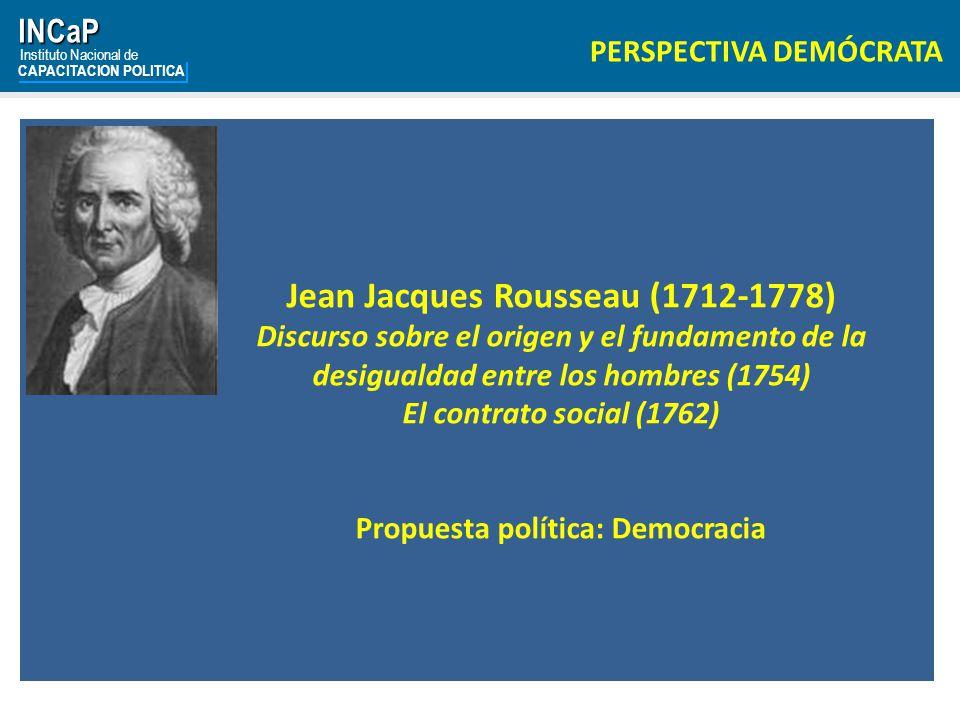 Jean Jacques Rousseau (1712-1778) Propuesta política: Democracia
