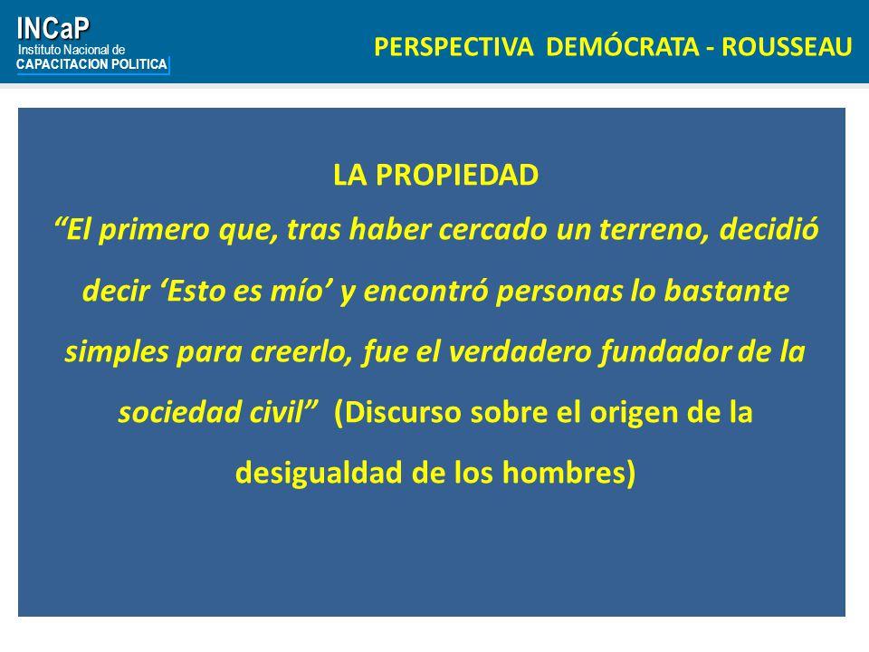 INCaP Instituto Nacional de. CAPACITACION POLITICA. PERSPECTIVA DEMÓCRATA - ROUSSEAU. LA PROPIEDAD.