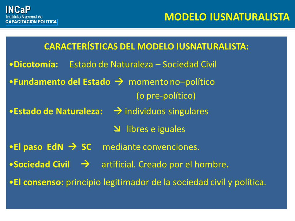 CARACTERÍSTICAS DEL MODELO IUSNATURALISTA: