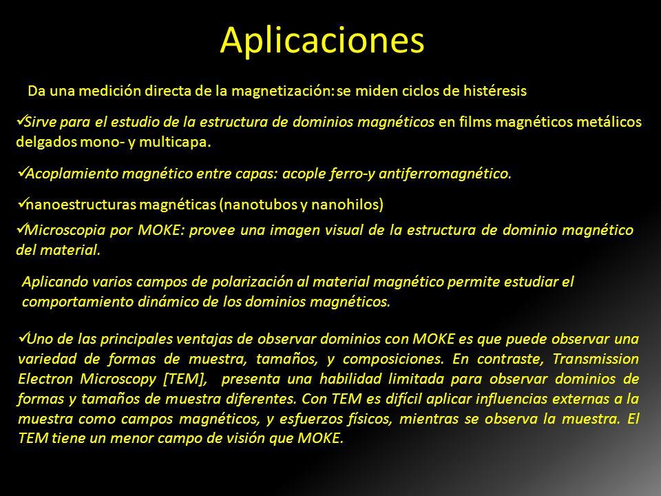 Aplicaciones Da una medición directa de la magnetización: se miden ciclos de histéresis.