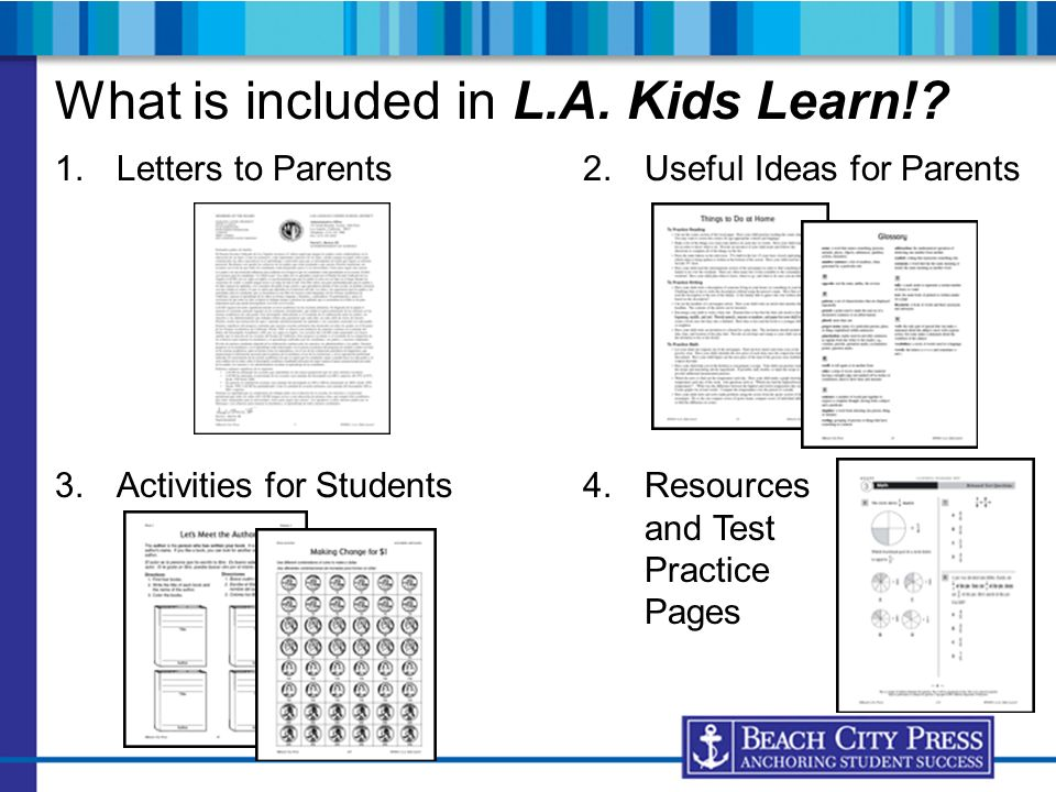 What is included in L.A. Kids Learn!