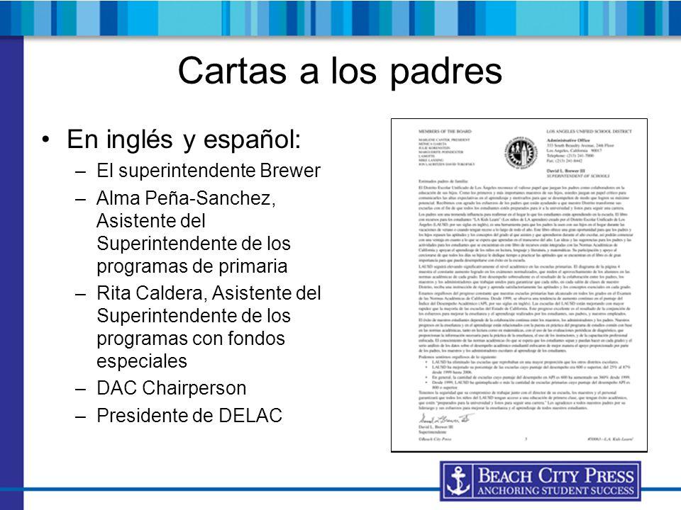 Cartas a los padres En inglés y español: El superintendente Brewer