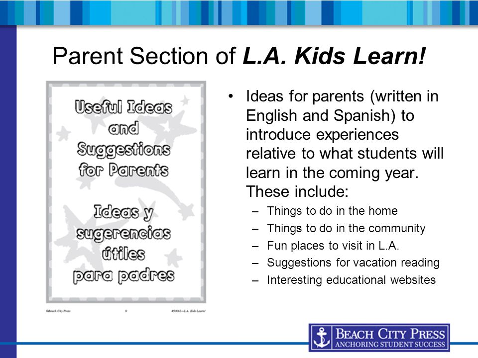 Parent Section of L.A. Kids Learn!