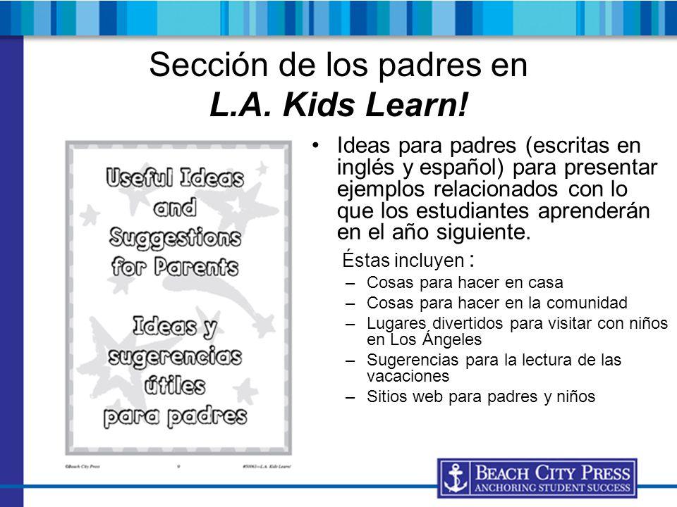 Sección de los padres en L.A. Kids Learn!