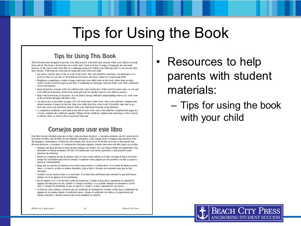 Tips for Using the Book Resources to help parents with student materials: Tips for using the book with your child.