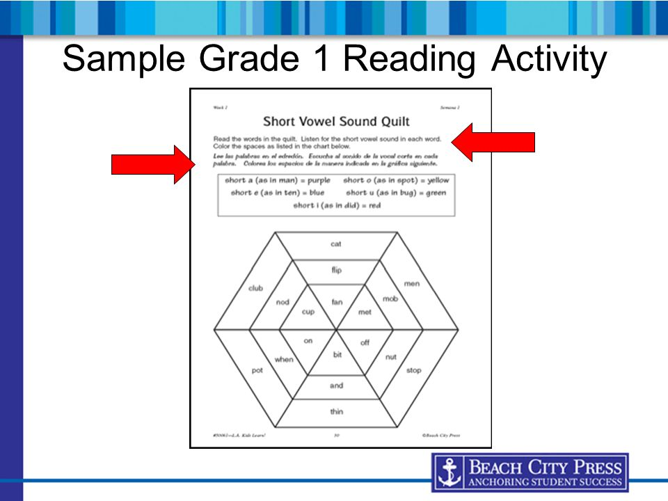Sample Grade 1 Reading Activity