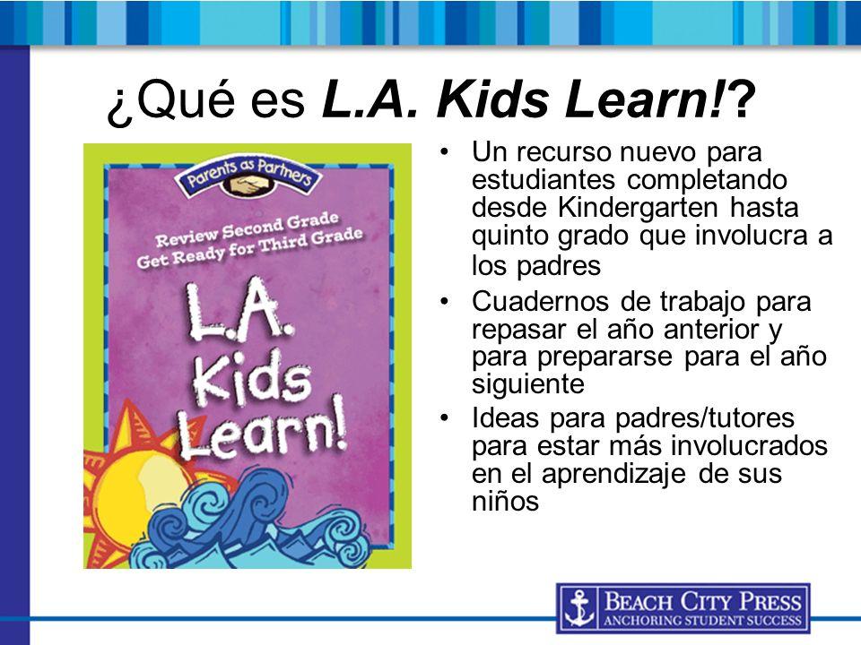 ¿Qué es L.A. Kids Learn! Un recurso nuevo para estudiantes completando desde Kindergarten hasta quinto grado que involucra a los padres.