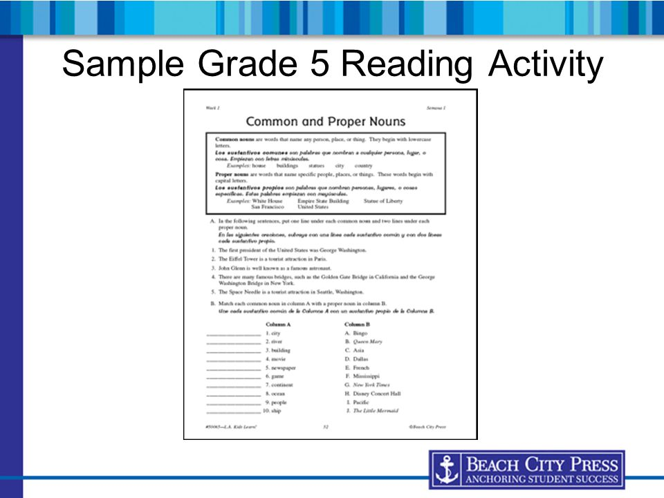 Sample Grade 5 Reading Activity