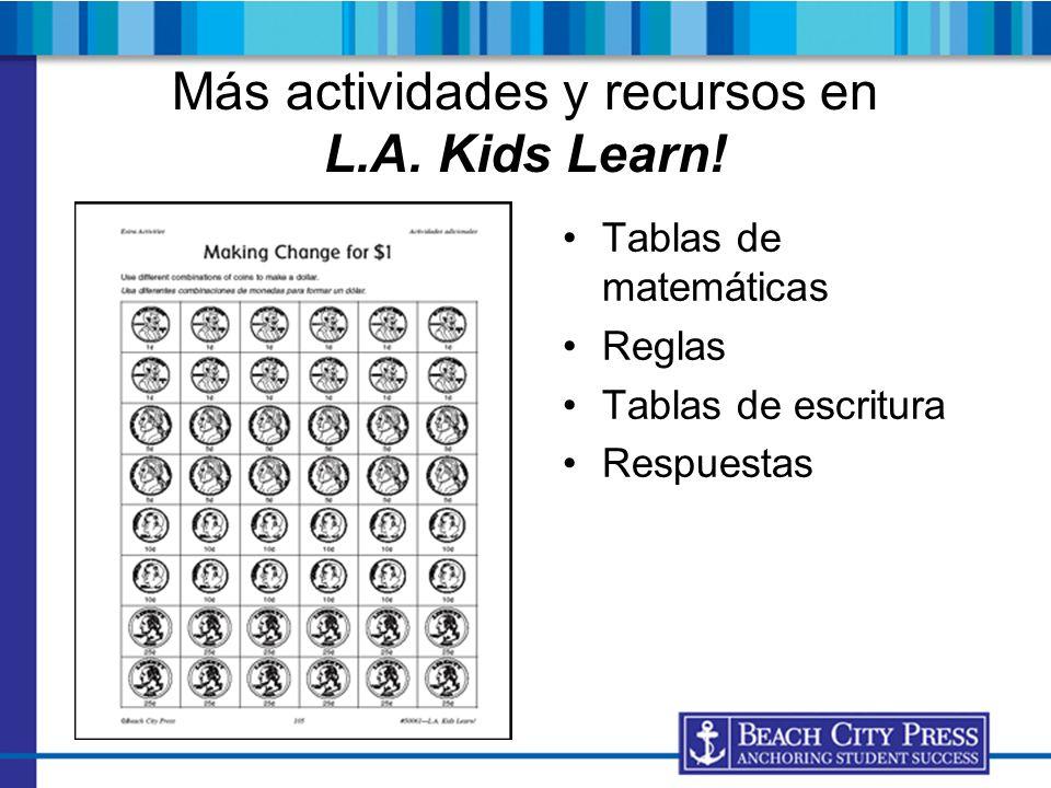 Más actividades y recursos en L.A. Kids Learn!