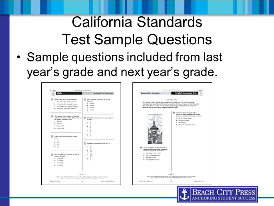 California Standards Test Sample Questions