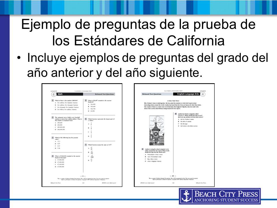 Ejemplo de preguntas de la prueba de los Estándares de California