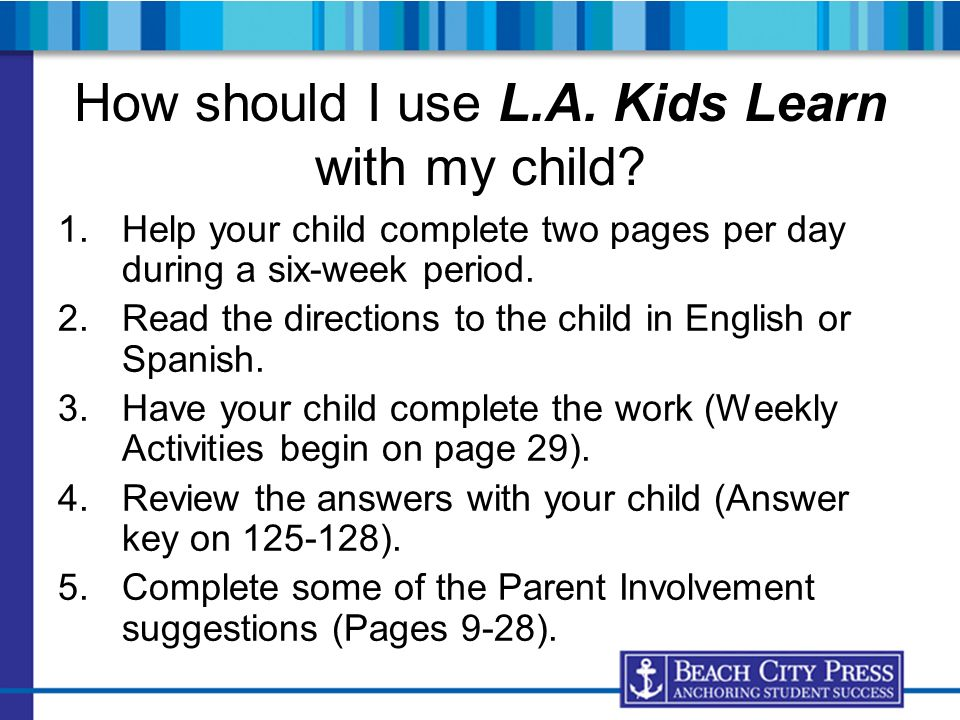 How should I use L.A. Kids Learn with my child