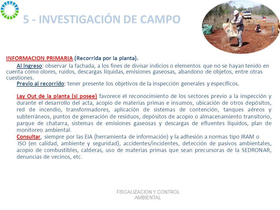 5 - INVESTIGACIÓN DE CAMPO