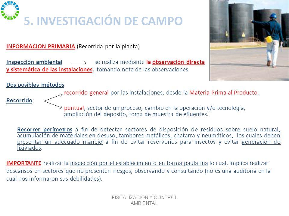 5. INVESTIGACIÓN DE CAMPO