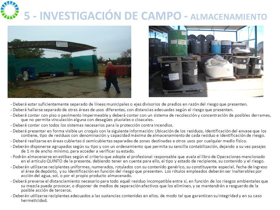 5 - INVESTIGACIÓN DE CAMPO - ALMACENAMIENTO