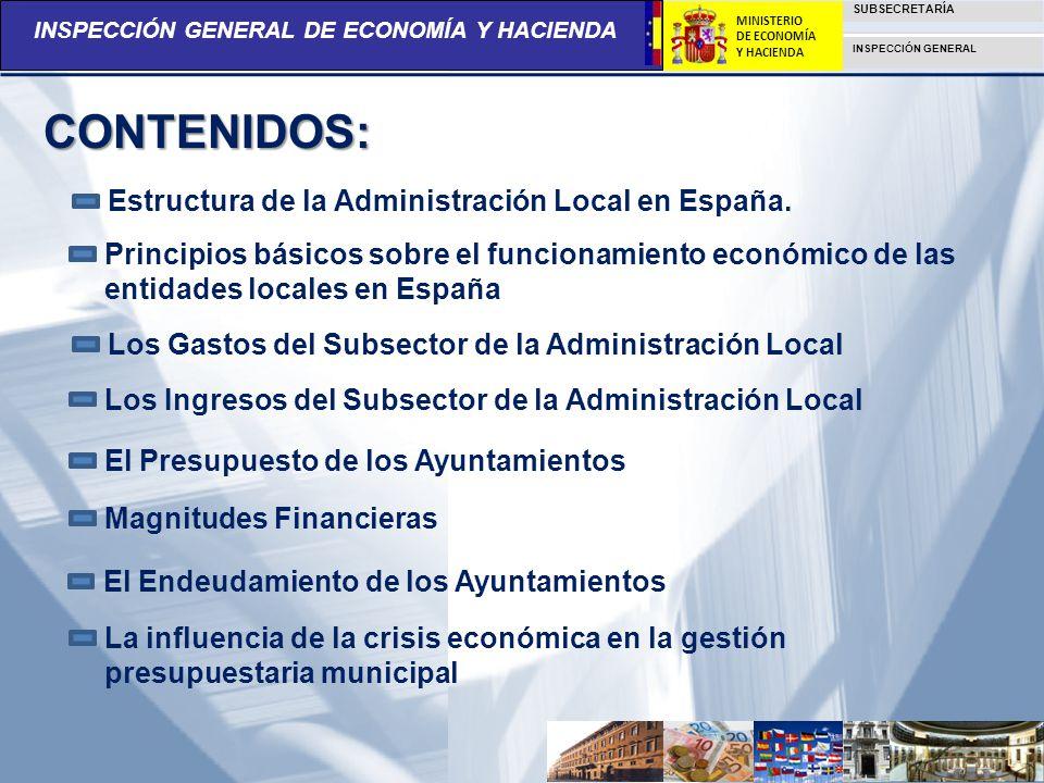 CONTENIDOS: Estructura de la Administración Local en España.