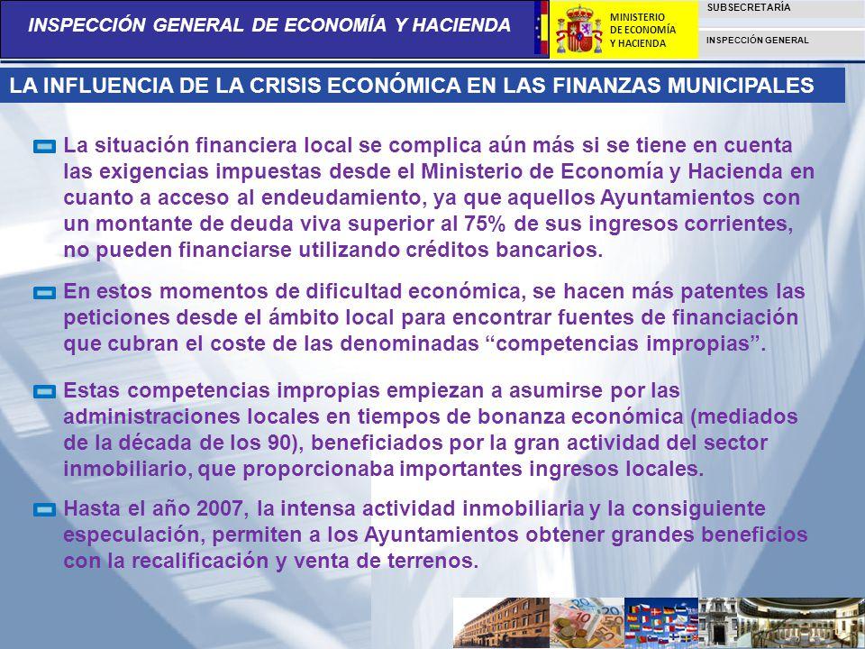 LA INFLUENCIA DE LA CRISIS ECONÓMICA EN LAS FINANZAS MUNICIPALES