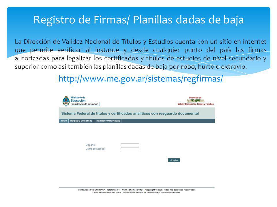Registro de Firmas/ Planillas dadas de baja