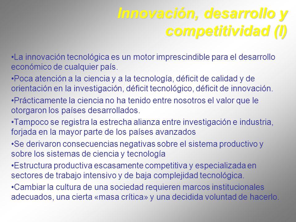 Innovación, desarrollo y competitividad (I)