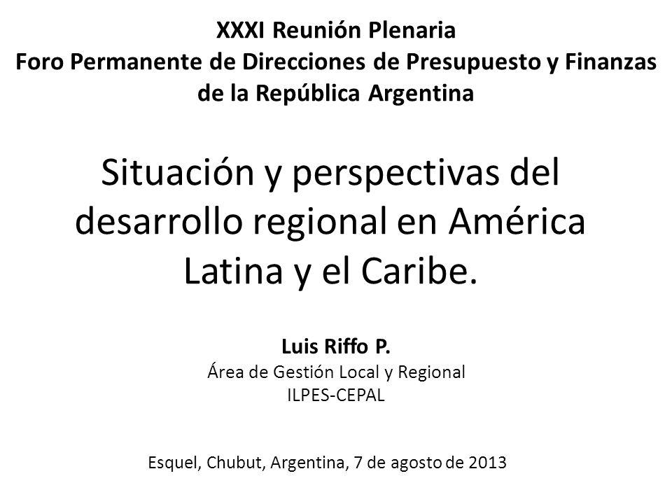 Luis Riffo P. Área de Gestión Local y Regional ILPES-CEPAL