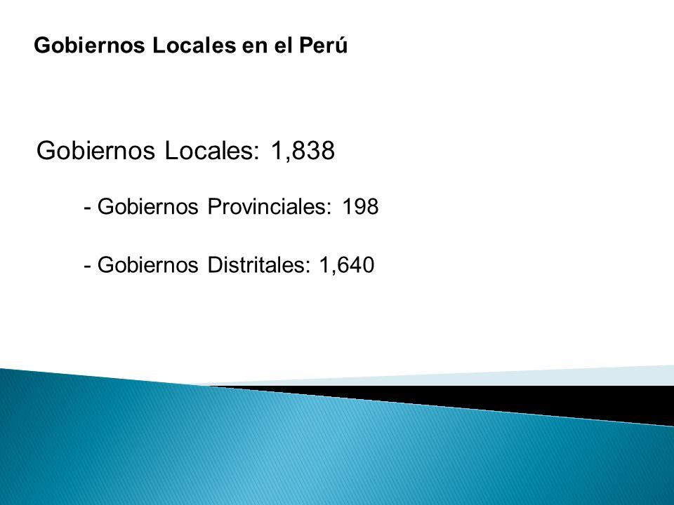 Gobiernos Locales: 1,838 Gobiernos Locales en el Perú