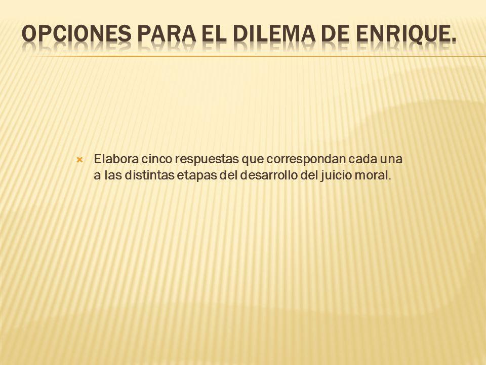 OPCIONES PARA EL DILEMA DE ENRIQUE.