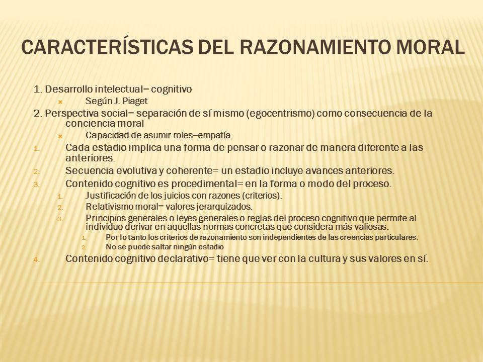 CARACTERÍSTICAS DEL RAZONAMIENTO MORAL