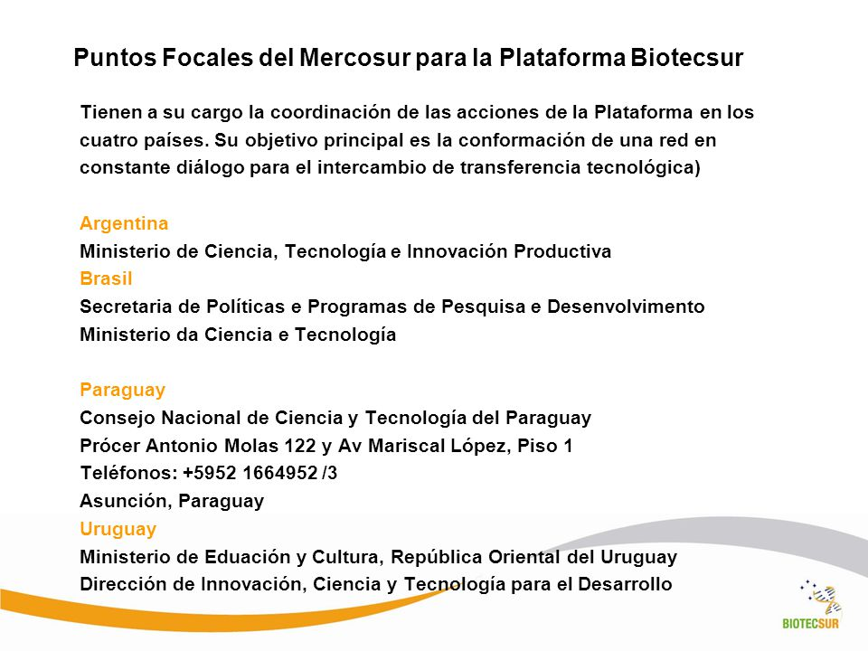 Puntos Focales del Mercosur para la Plataforma Biotecsur