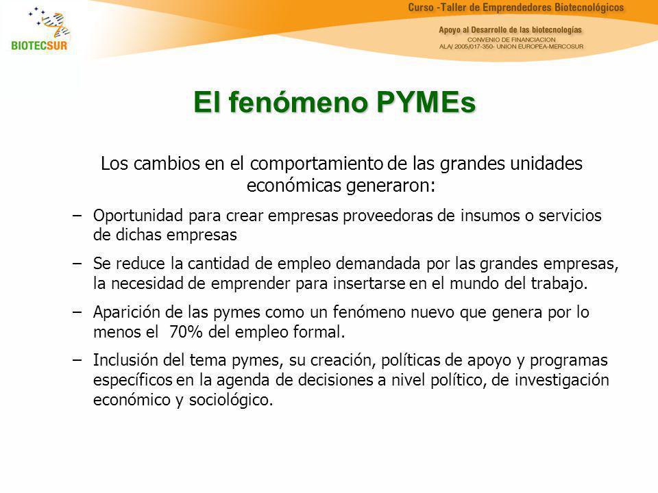 El fenómeno PYMEs Los cambios en el comportamiento de las grandes unidades económicas generaron: