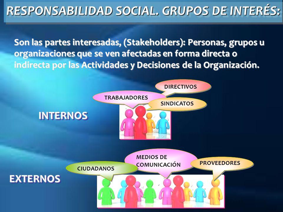 RESPONSABILIDAD SOCIAL. GRUPOS DE INTERÉS: