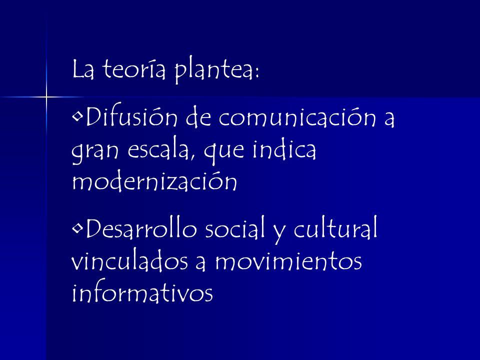 La teoría plantea: Difusión de comunicación a gran escala, que indica modernización.