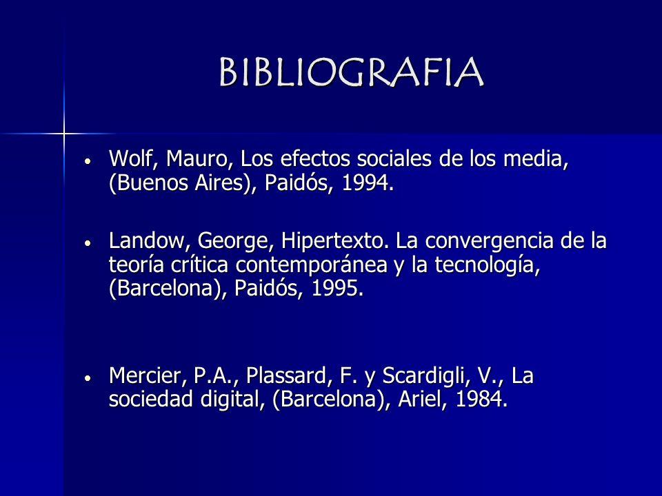 BIBLIOGRAFIA Wolf, Mauro, Los efectos sociales de los media, (Buenos Aires), Paidós, 1994.
