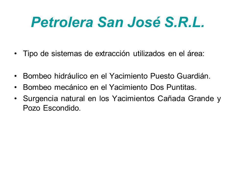 Petrolera San José S.R.L. Tipo de sistemas de extracción utilizados en el área: Bombeo hidráulico en el Yacimiento Puesto Guardián.