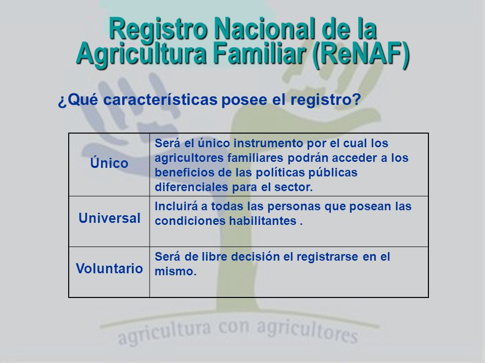 Registro Nacional de la Agricultura Familiar (ReNAF)