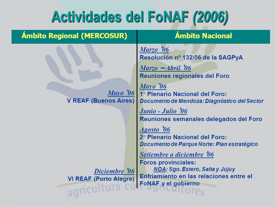 Actividades del FoNAF (2006)