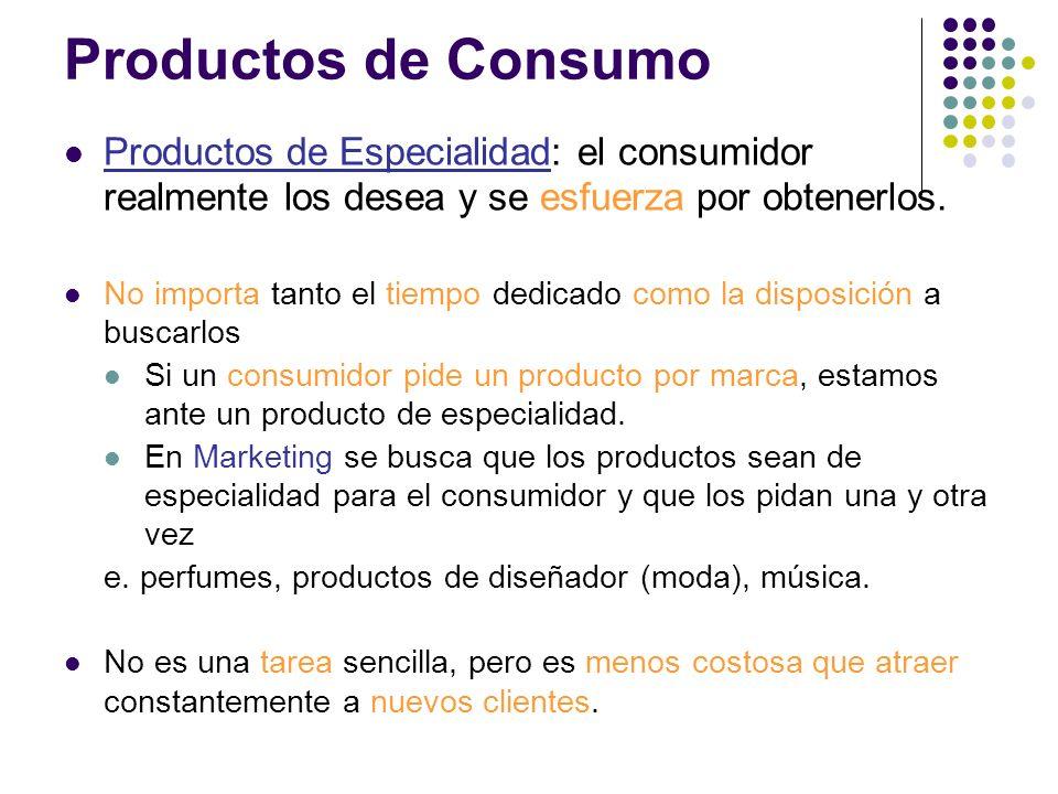 Productos de ConsumoProductos de Especialidad: el consumidor realmente los desea y se esfuerza por obtenerlos.