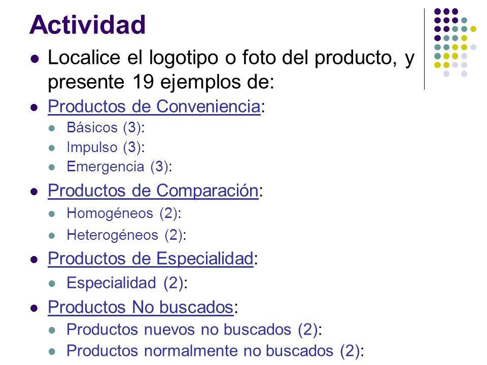 Actividad Localice el logotipo o foto del producto, y presente 19 ejemplos de: Productos de Conveniencia: