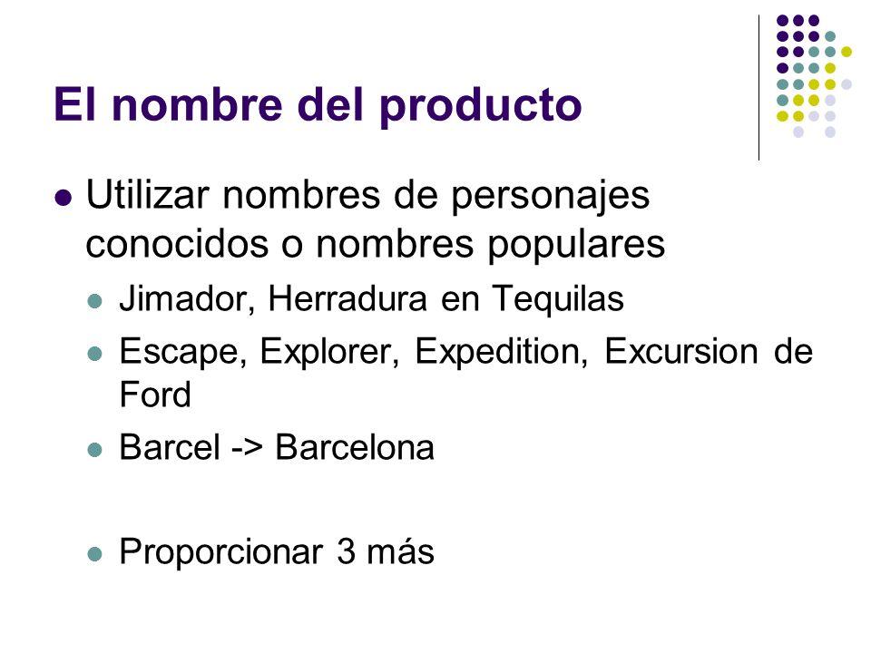 El nombre del producto Utilizar nombres de personajes conocidos o nombres populares. Jimador, Herradura en Tequilas.