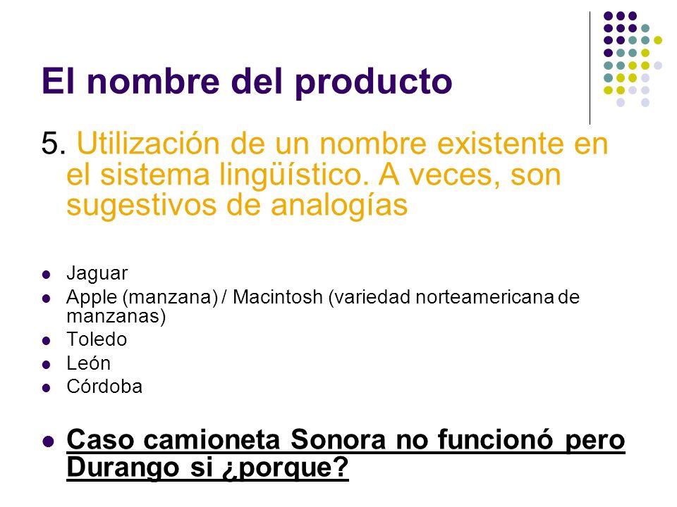 El nombre del producto5. Utilización de un nombre existente en el sistema lingüístico. A veces, son sugestivos de analogías.