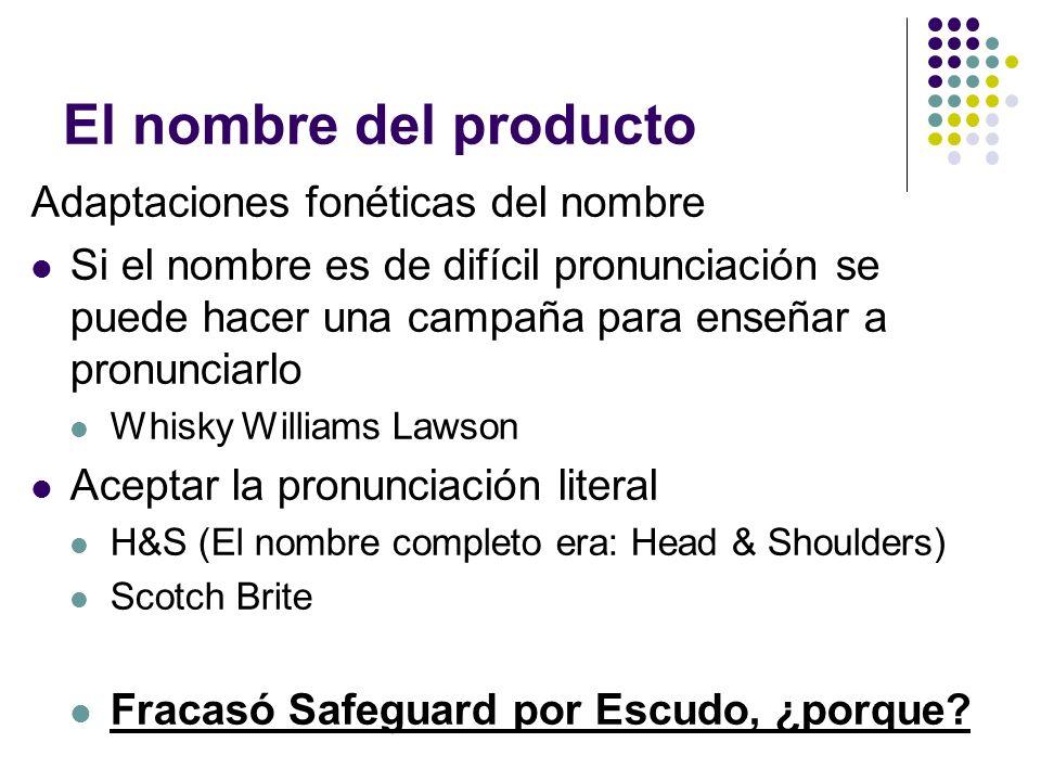 El nombre del producto Adaptaciones fonéticas del nombre